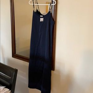 J.Crew Factory navy midi slip dress size large